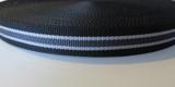 Tassenband PP zwaar band 2,5 mm zwart wit_
