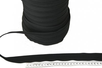 Rits 6 mm zwart per meter