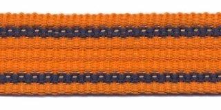 Tassenband PP zwaar band 25 mm oranje streep