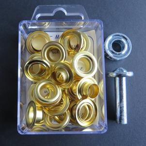Doosje zeilringen met gereedschap messing 14 mm