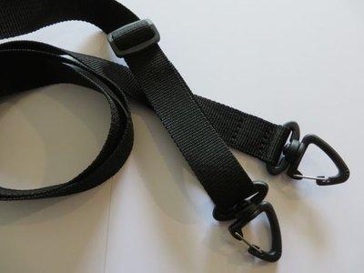 Schouderband van tassenband met schuifgesp en musketons in vele kleuren