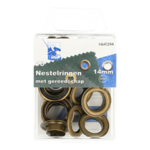 Doosje zeilringen met gereedschap brons [alt messing]14 mm